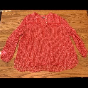 Red and white Lucky Brand long sleeve blouse